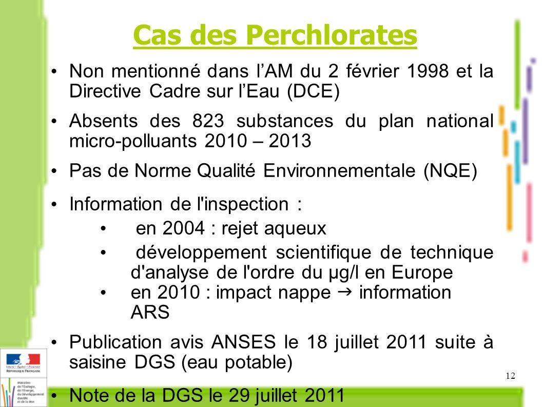 12 Cas des Perchlorates Non mentionné dans lAM du 2 février 1998 et la Directive Cadre sur lEau (DCE) Absents des 823 substances du plan national micro-polluants 2010 – 2013 Pas de Norme Qualité Environnementale (NQE) Information de l inspection : en 2004 : rejet aqueux développement scientifique de technique d analyse de l ordre du μg/l en Europe en 2010 : impact nappe information ARS Publication avis ANSES le 18 juillet 2011 suite à saisine DGS (eau potable) Note de la DGS le 29 juillet 2011