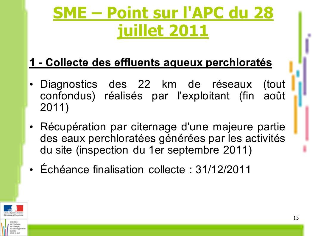 13 1 - Collecte des effluents aqueux perchloratés Diagnostics des 22 km de réseaux (tout confondus) réalisés par l exploitant (fin août 2011) Récupération par citernage d une majeure partie des eaux perchloratées générées par les activités du site (inspection du 1er septembre 2011) Échéance finalisation collecte : 31/12/2011 SME – Point sur l APC du 28 juillet 2011