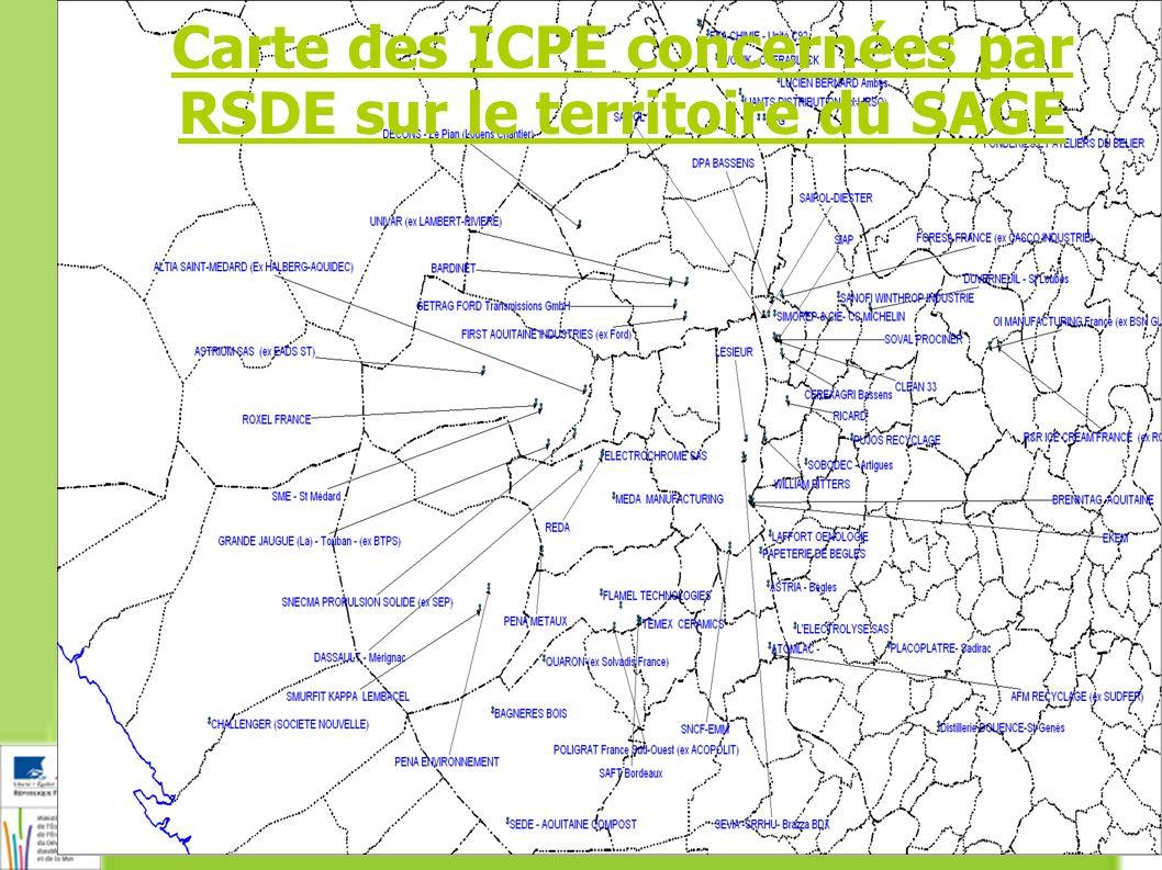 4 Carte des ICPE concernées par RSDE sur le territoire du SAGE