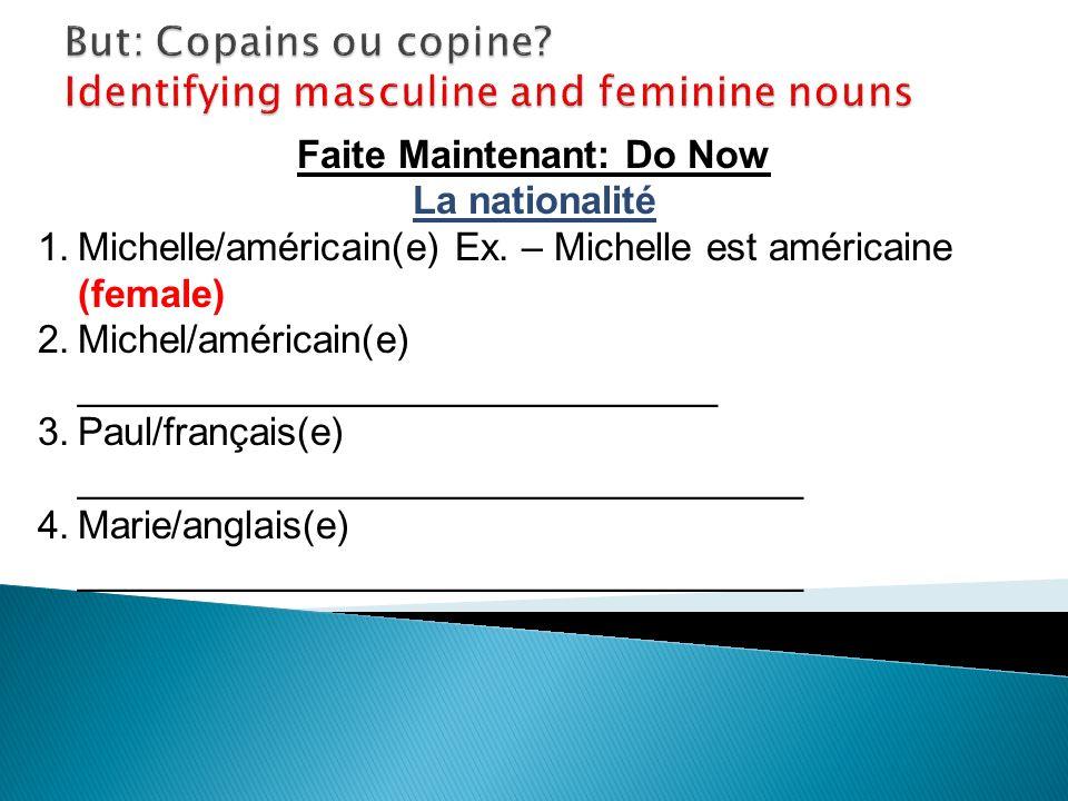 Faite Maintenant: Do Now La nationalité 1.Michelle/américain(e) Ex.