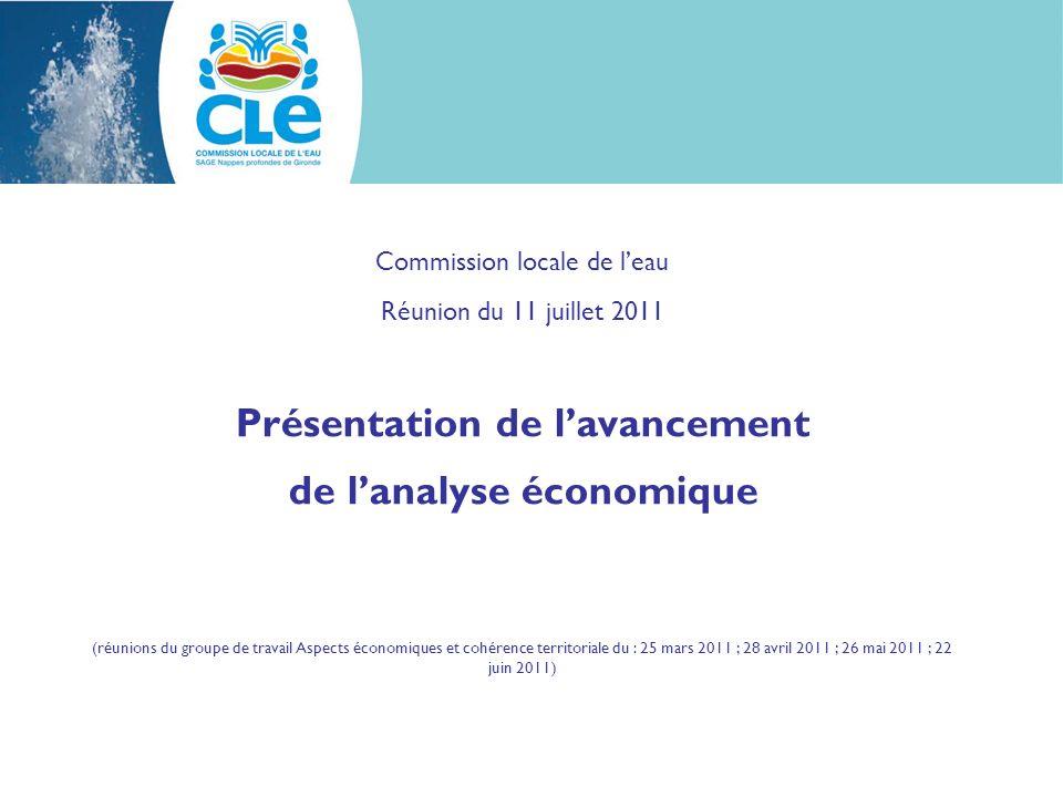 Commission locale de leau Réunion du 11 juillet 2011 Présentation de lavancement de lanalyse économique (réunions du groupe de travail Aspects économiques et cohérence territoriale du : 25 mars 2011 ; 28 avril 2011 ; 26 mai 2011 ; 22 juin 2011)