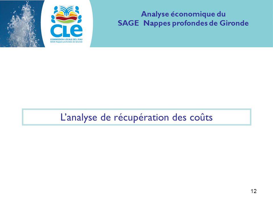 12 Analyse économique du SAGE Nappes profondes de Gironde Lanalyse de récupération des coûts