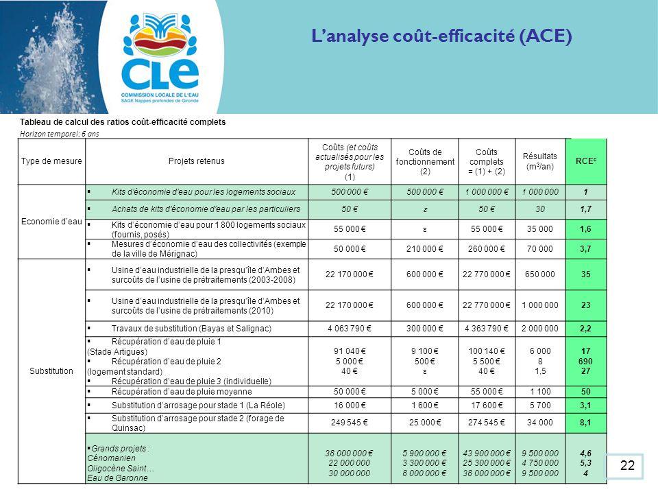 Lanalyse coût-efficacité (ACE) Tableau de calcul des ratios coût-efficacité complets Horizon temporel: 6 ans Type de mesureProjets retenus Coûts (et coûts actualisés pour les projets futurs) (1) Coûts de fonctionnement (2) Coûts complets = (1) + (2) Résultats (m 3 /an) RCE c Economie deau Kits déconomie deau pour les logements sociaux500 000 1 000 000 1 Achats de kits déconomie deau par les particuliers50 ɛ 301,7 Kits déconomie deau pour 1 800 logements sociaux (fournis, posés) 55 000 ɛ 35 0001,6 Mesures déconomie deau des collectivités (exemple de la ville de Mérignac) 50 000 210 000 260 000 70 0003,7 Substitution Usine deau industrielle de la presquîle dAmbes et surcoûts de lusine de prétraitements (2003-2008) 22 170 000 600 000 22 770 000 650 00035 Usine deau industrielle de la presquîle dAmbes et surcoûts de lusine de prétraitements (2010) 22 170 000 600 000 22 770 000 1 000 00023 Travaux de substitution (Bayas et Salignac)4 063 790 300 000 4 363 790 2 000 0002,2 Récupération deau de pluie 1 (Stade Artigues) Récupération deau de pluie 2 (logement standard) Récupération deau de pluie 3 (individuelle) 91 040 5 000 40 9 100 500 ɛ 100 140 5 500 40 6 000 8 1,5 17 690 27 Récupération deau de pluie moyenne50 000 5 000 55 000 1 10050 Substitution darrosage pour stade 1 (La Réole)16 000 1 600 17 600 5 7003,1 Substitution darrosage pour stade 2 (forage de Quinsac) 249 545 25 000 274 545 34 0008,1 Grands projets : Cénomanien Oligocène Saint… Eau de Garonne 38 000 000 22 000 000 30 000 000 5 900 000 3 300 000 8 000 000 43 900 000 25 300 000 38 000 000 9 500 000 4 750 000 9 500 000 4,6 5,3 4 22