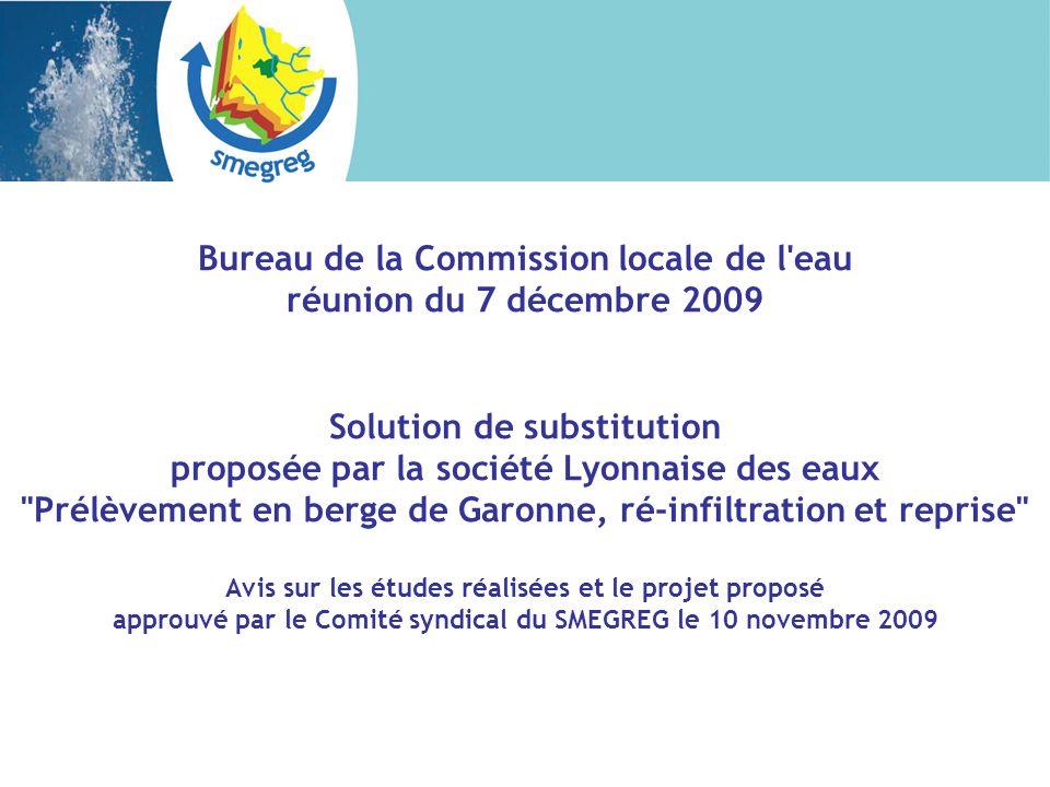 RAPPEL DU CONTEXTE En 2006, Lyonnaise des eaux propose à la CUB d étudier une solution de substitution sous brevet faisant appel en premier lieu à la filtration sur berge puis, en second lieu, à la réalimentation artificielle de nappe.