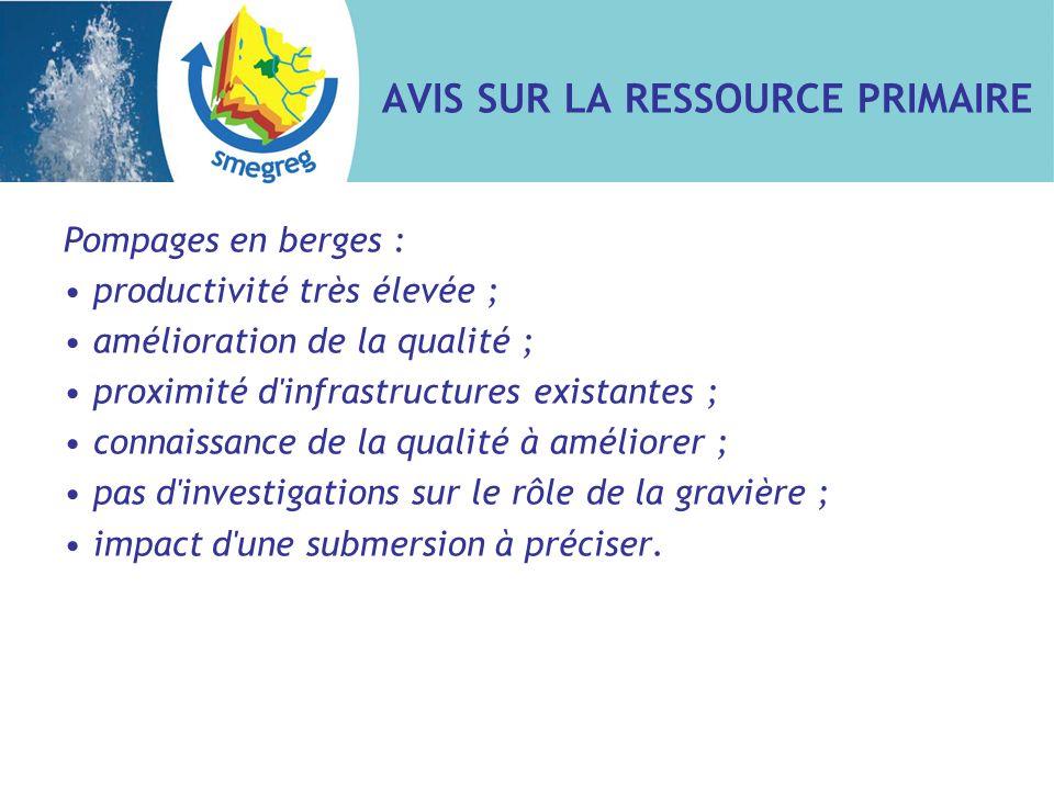 AVIS SUR LA RESSOURCE PRIMAIRE Pompages en berges : productivité très élevée ; amélioration de la qualité ; proximité d'infrastructures existantes ; c