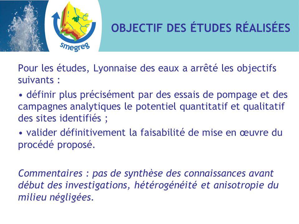 OBJECTIF DES ÉTUDES RÉALISÉES Pour les études, Lyonnaise des eaux a arrêté les objectifs suivants : définir plus précisément par des essais de pompage