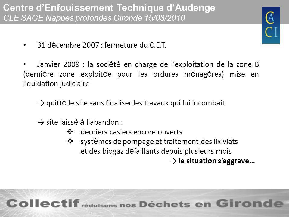 Centre dEnfouissement Technique dAudenge CLE SAGE Nappes profondes Gironde 15/03/2010 31 d é cembre 2007 : fermeture du C.E.T. Janvier 2009 : la soci