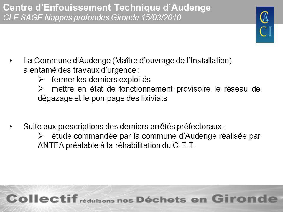Centre dEnfouissement Technique dAudenge CLE SAGE Nappes profondes Gironde 15/03/2010 La Commune dAudenge (Maître douvrage de lInstallation) a entamé