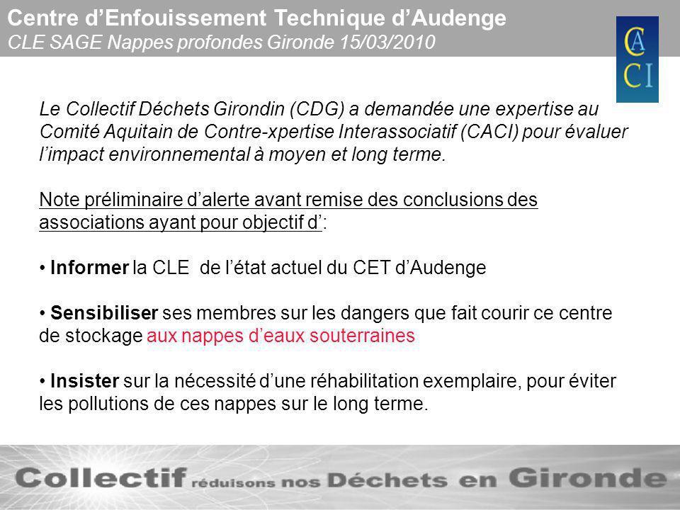 Centre dEnfouissement Technique dAudenge CLE SAGE Nappes profondes Gironde 15/03/2010 Létude commandée par la commune dAudenge réalisée par ANTEA préalable à la réhabilitation du C.E.T.