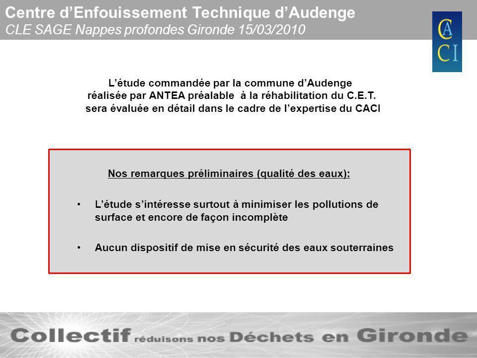 Centre dEnfouissement Technique dAudenge CLE SAGE Nappes profondes Gironde 15/03/2010 Des travaux durgence sont en cours de réalisation mais ils ne concernent que létanchéification du toit des casiers