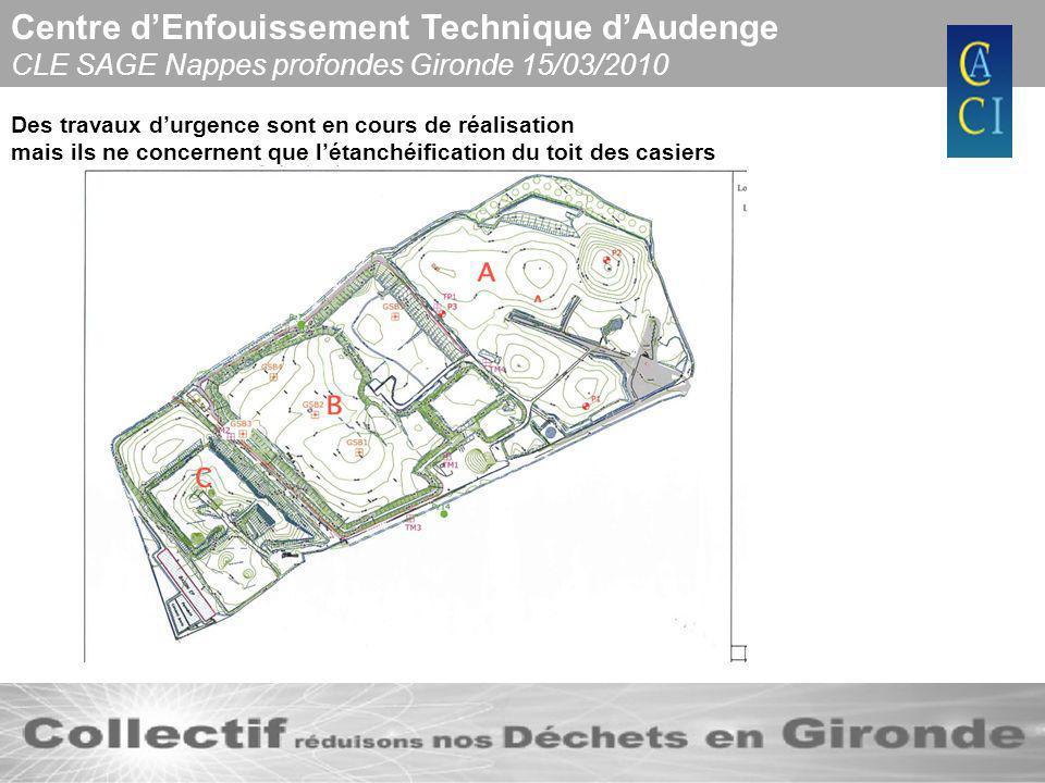 Centre dEnfouissement Technique dAudenge CLE SAGE Nappes profondes Gironde 15/03/2010 Des travaux durgence sont en cours de réalisation mais ils ne co