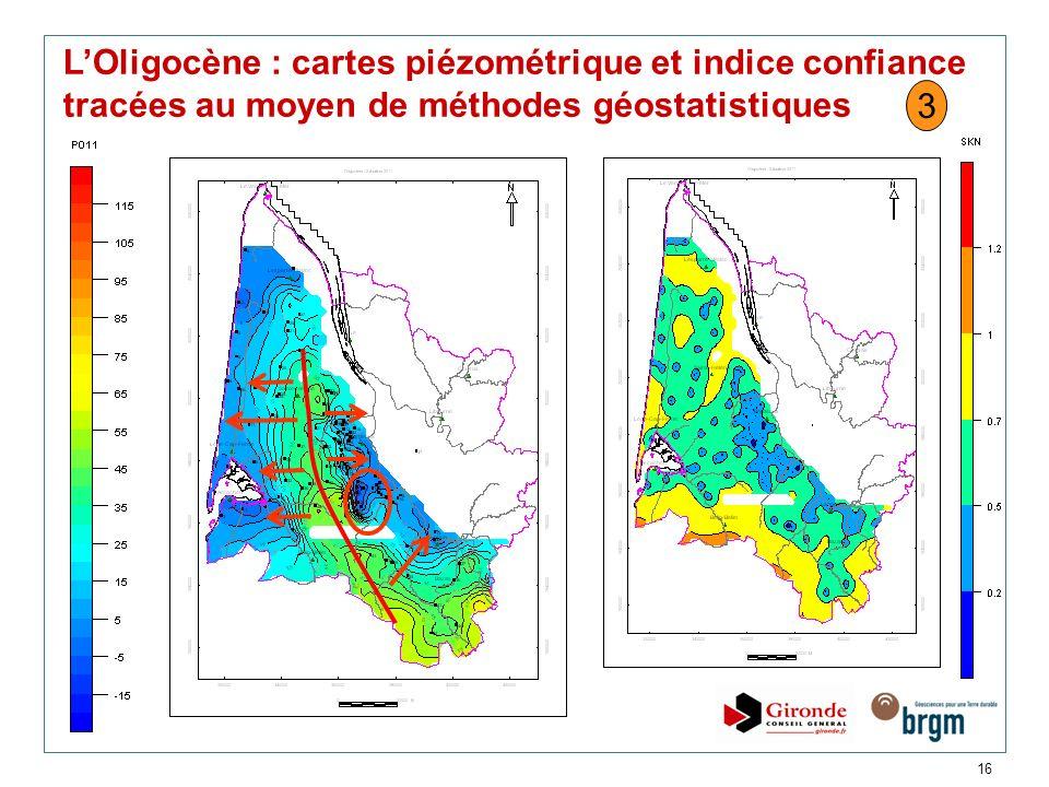 16 LOligocène : cartes piézométrique et indice confiance tracées au moyen de méthodes géostatistiques 3