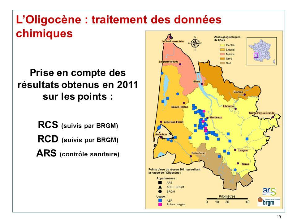 19 LOligocène : traitement des données chimiques Prise en compte des résultats obtenus en 2011 sur les points : RCS (suivis par BRGM) RCD (suivis par