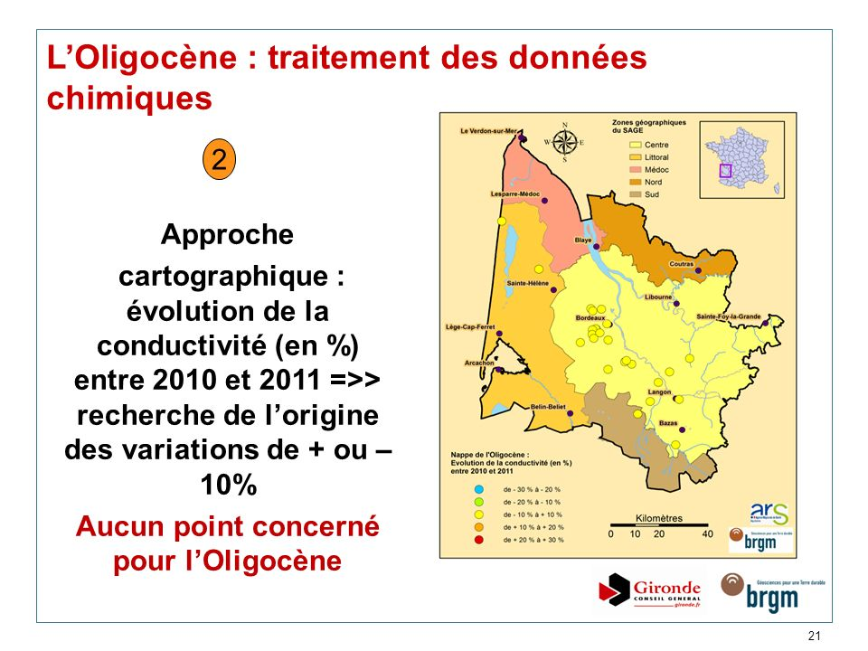 21 LOligocène : traitement des données chimiques Approche cartographique : évolution de la conductivité (en %) entre 2010 et 2011 =>> recherche de lor