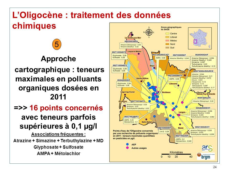 24 LOligocène : traitement des données chimiques Approche cartographique : teneurs maximales en polluants organiques dosées en 2011 =>> 16 points conc