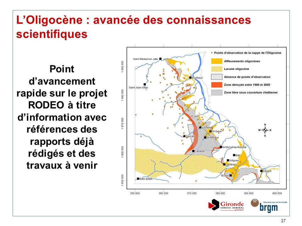 27 LOligocène : avancée des connaissances scientifiques Point davancement rapide sur le projet RODEO à titre dinformation avec références des rapports