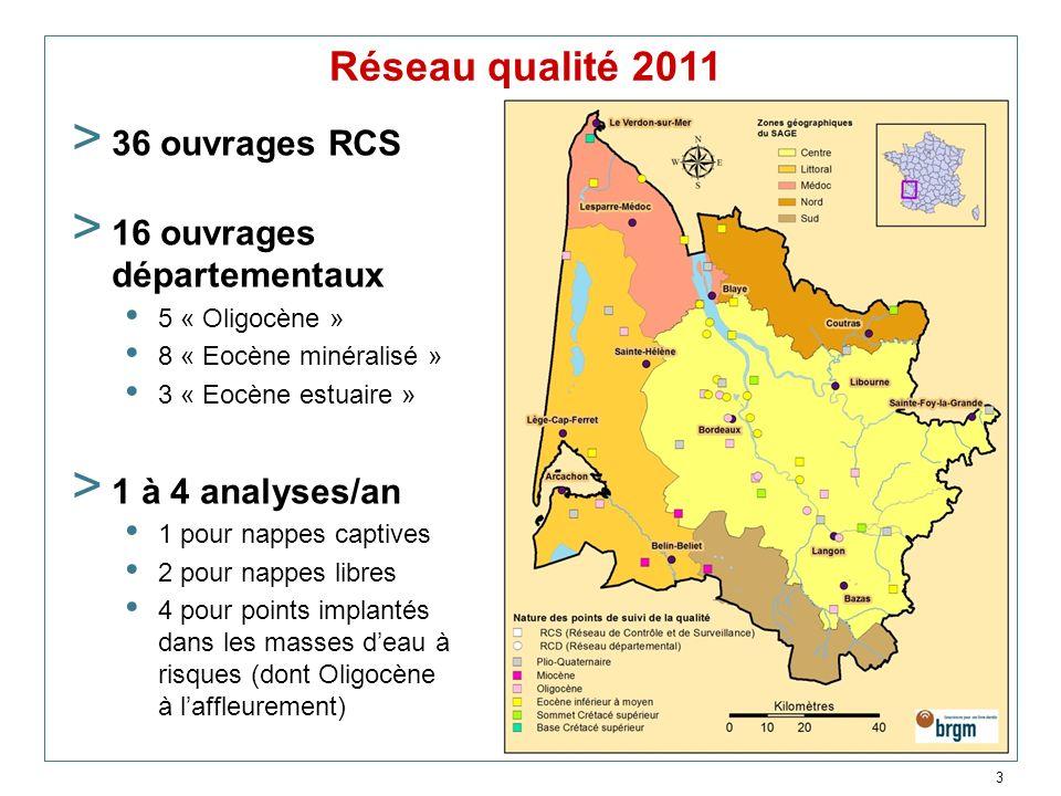3 Réseau qualité 2011 > 36 ouvrages RCS > 16 ouvrages départementaux 5 « Oligocène » 8 « Eocène minéralisé » 3 « Eocène estuaire » > 1 à 4 analyses/an