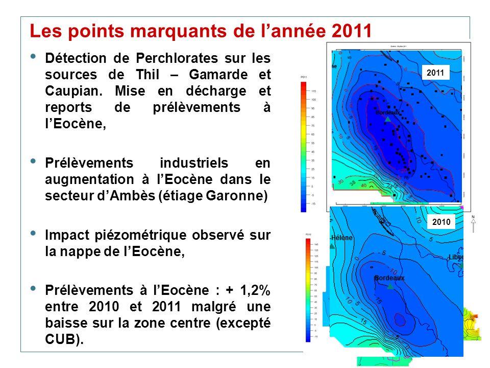 34 Les points marquants de lannée 2011 Détection de Perchlorates sur les sources de Thil – Gamarde et Caupian. Mise en décharge et reports de prélèvem