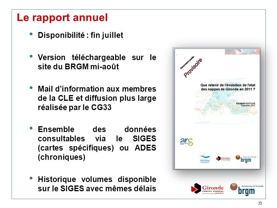 35 Le rapport annuel Disponibilité : fin juillet Version téléchargeable sur le site du BRGM mi-août Mail dinformation aux membres de la CLE et diffusi