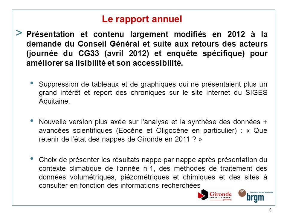 6 Le rapport annuel > Présentation et contenu largement modifiés en 2012 à la demande du Conseil Général et suite aux retours des acteurs (journée du