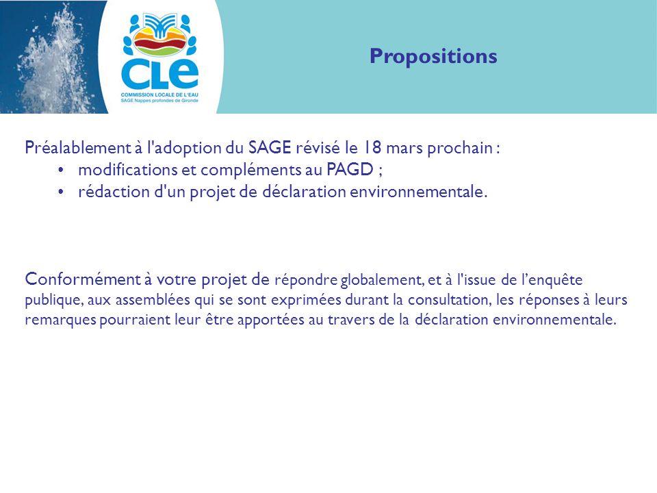 Propositions Préalablement à l adoption du SAGE révisé le 18 mars prochain : modifications et compléments au PAGD ; rédaction d un projet de déclaration environnementale.