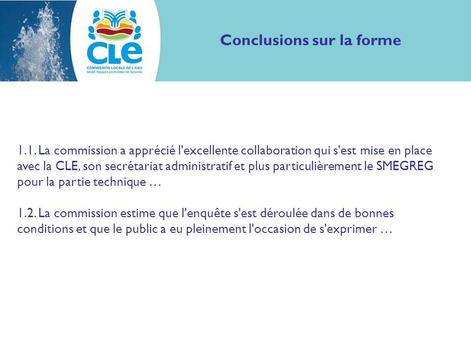 Conclusions sur la forme 1.1.