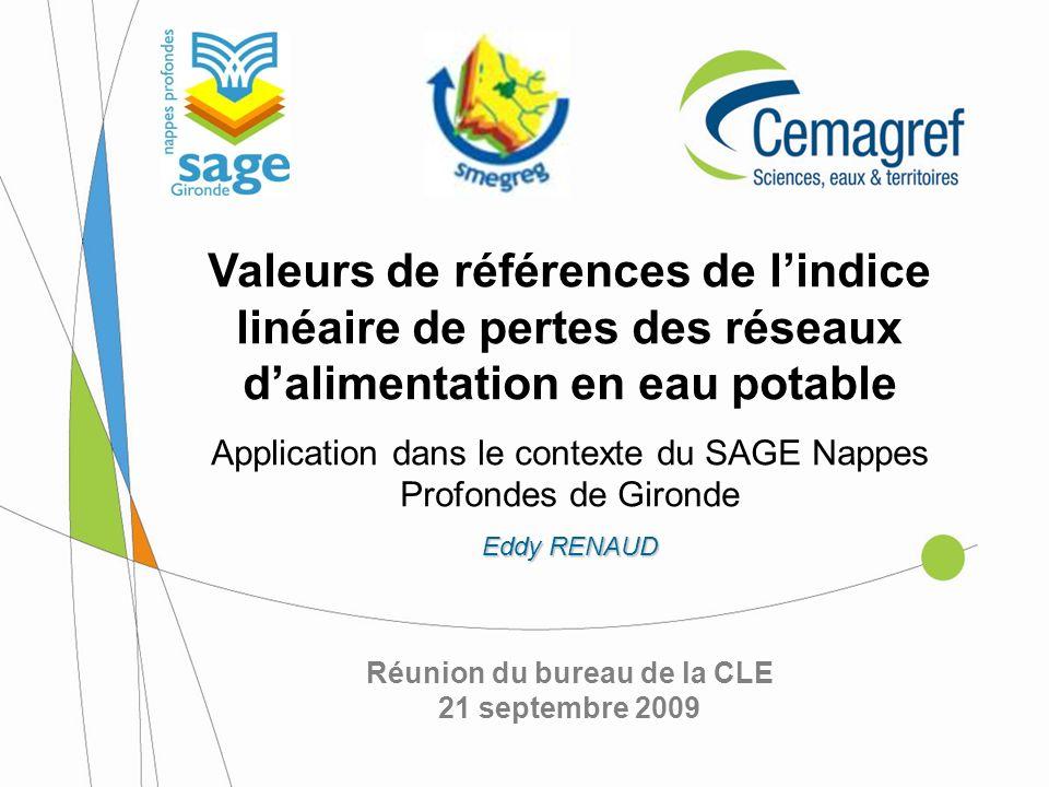 Réunion du bureau de la CLE 21 septembre 2009 Valeurs de références de lindice linéaire de pertes des réseaux dalimentation en eau potable Application