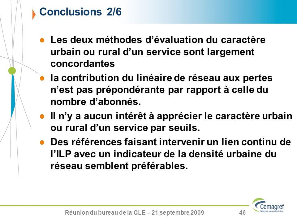 Réunion du bureau de la CLE – 21 septembre 200946 Les deux méthodes dévaluation du caractère urbain ou rural dun service sont largement concordantes l