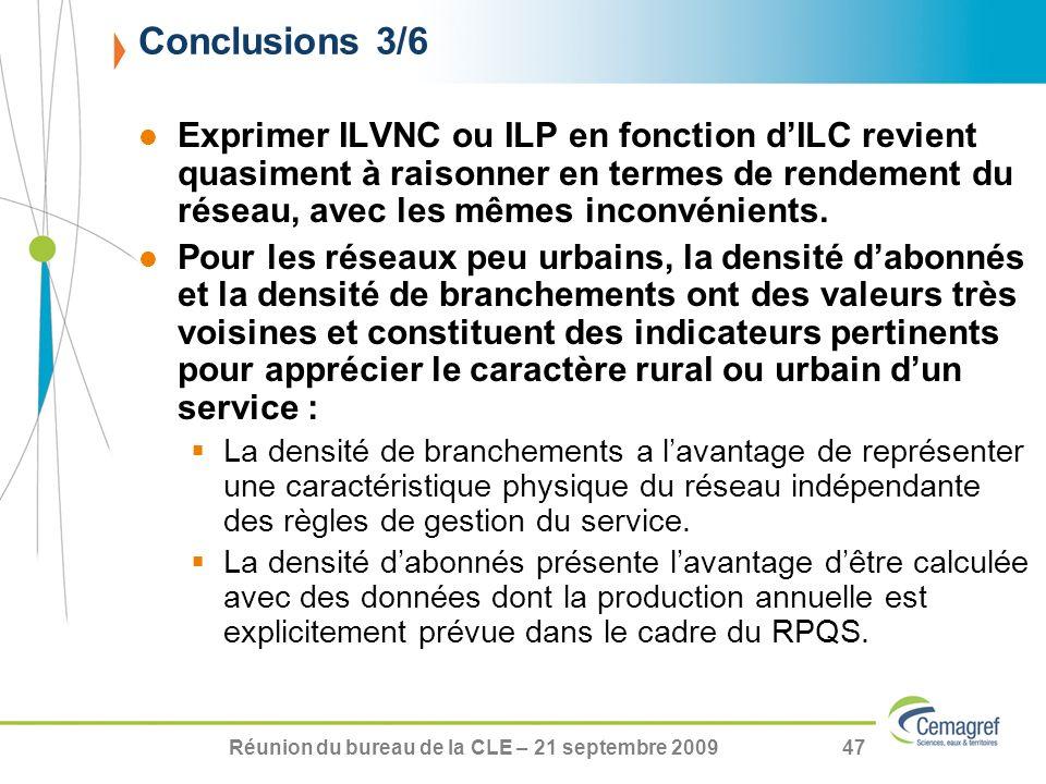 Réunion du bureau de la CLE – 21 septembre 200947 Exprimer ILVNC ou ILP en fonction dILC revient quasiment à raisonner en termes de rendement du résea