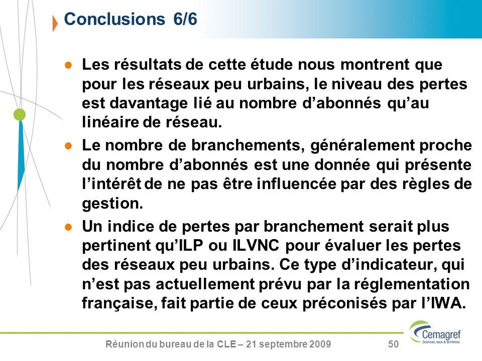 Réunion du bureau de la CLE – 21 septembre 200950 Les résultats de cette étude nous montrent que pour les réseaux peu urbains, le niveau des pertes es