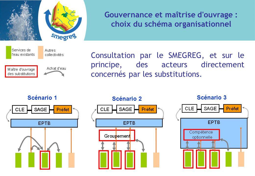 Gouvernance et maîtrise d ouvrage : choix du schéma organisationnel Scénario 1 Scénario 2 Scénario 3 Consultation par le SMEGREG, et sur le principe, des acteurs directement concernés par les substitutions.
