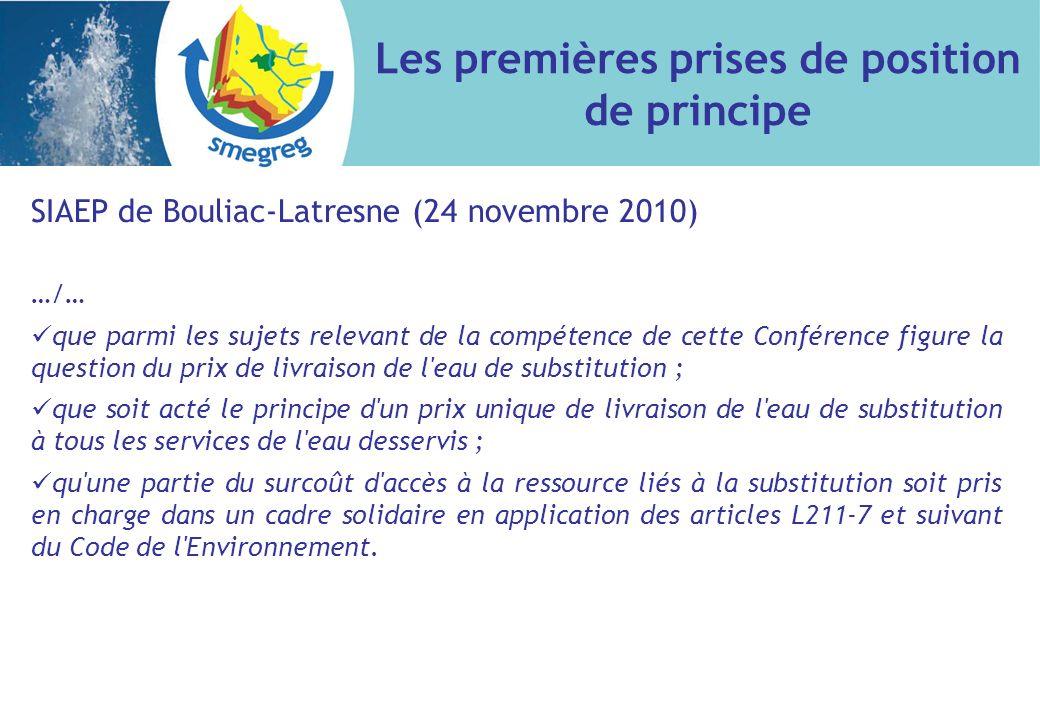 SIAEP de Bouliac-Latresne (24 novembre 2010) …/… que parmi les sujets relevant de la compétence de cette Conférence figure la question du prix de livraison de l eau de substitution ; que soit acté le principe d un prix unique de livraison de l eau de substitution à tous les services de l eau desservis ; qu une partie du surcoût d accès à la ressource liés à la substitution soit pris en charge dans un cadre solidaire en application des articles L211-7 et suivant du Code de l Environnement.