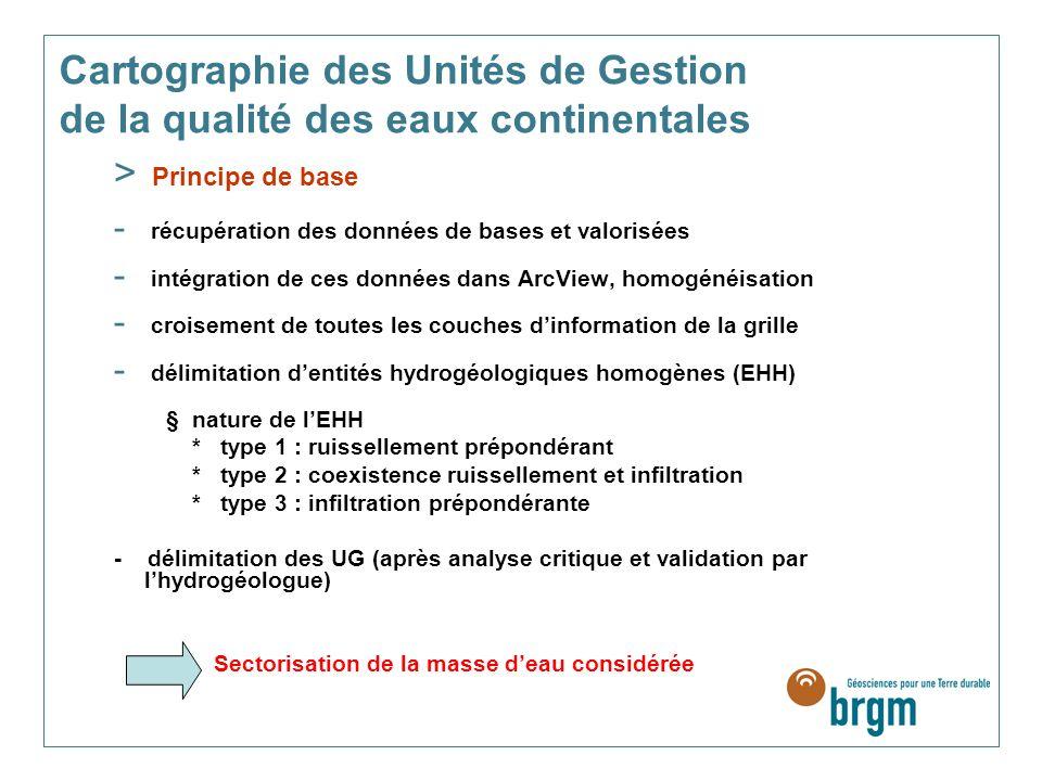 Cartographie des Unités de Gestion de la qualité des eaux continentales > Principe de base - récupération des données de bases et valorisées - intégra