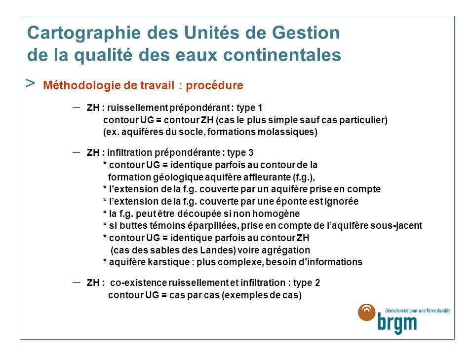Cartographie des Unités de Gestion de la qualité des eaux continentales > Méthodologie de travail : procédure – ZH : ruissellement prépondérant : type 1 contour UG = contour ZH (cas le plus simple sauf cas particulier) (ex.