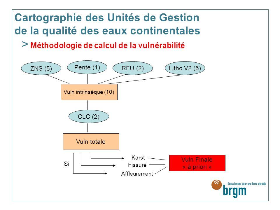ZNS (5) Pente (1) RFU (2) Litho V2 (5) Vuln intrinsèque (10) CLC (2) Vuln totale Karst Fissuré Affleurement Vuln Finale « à priori » Si Cartographie des Unités de Gestion de la qualité des eaux continentales > Méthodologie de calcul de la vulnérabilité