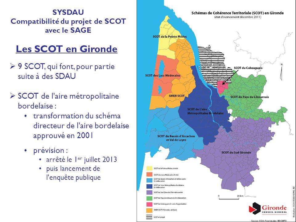 9 SCOT, qui font, pour partie suite à des SDAU SCOT de l'aire métropolitaine bordelaise : transformation du schéma directeur de l'aire bordelaise appr