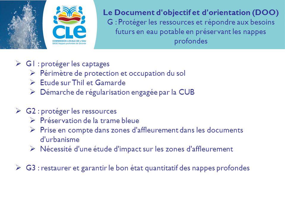 G1 : protéger les captages Périmètre de protection et occupation du sol Etude sur Thil et Gamarde Démarche de régularisation engagée par la CUB G2 : p