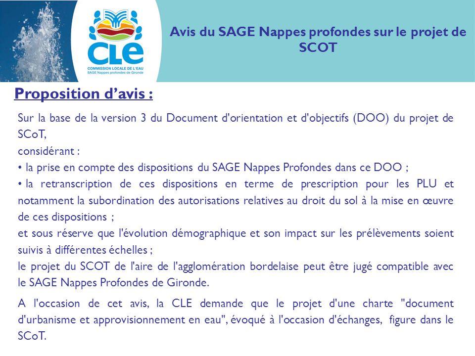 Avis du SAGE Nappes profondes sur le projet de SCOT Proposition davis : Sur la base de la version 3 du Document d'orientation et d'objectifs (DOO) du