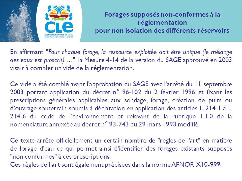 En affirmant Pour chaque forage, la ressource exploitée doit être unique (le mélange des eaux est proscrit) … , la Mesure 4-14 de la version du SAGE approuvé en 2003 visait à combler un vide de la réglementation.