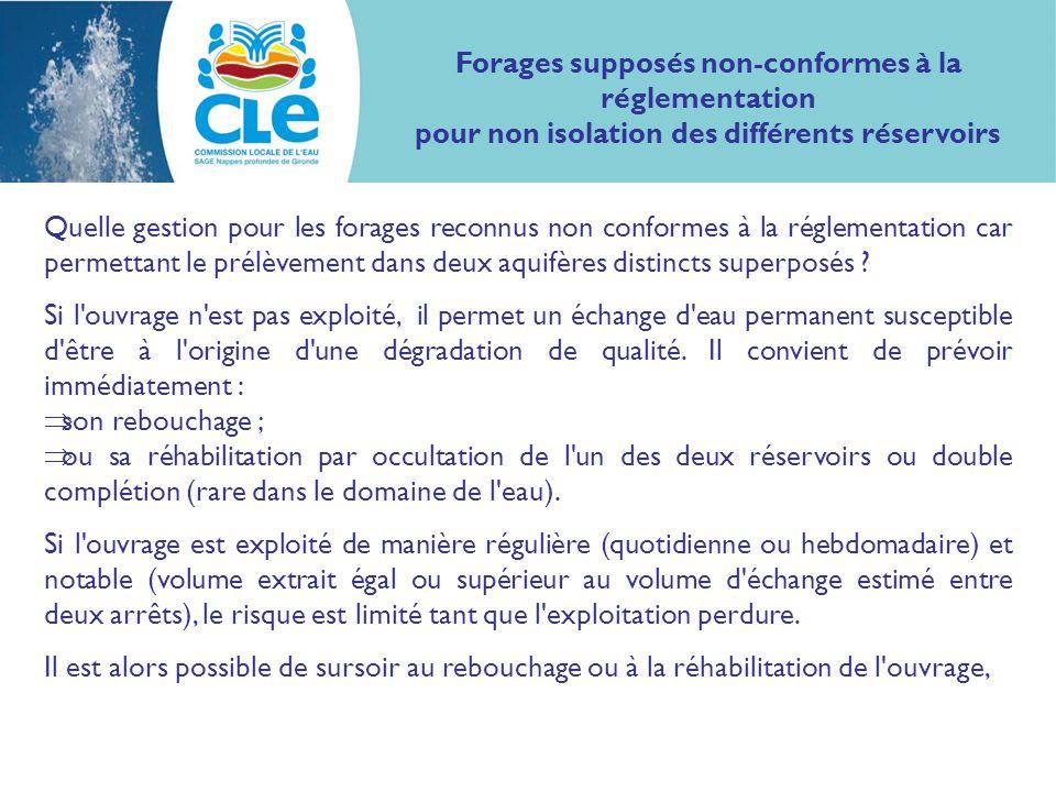 Quelle gestion pour les forages reconnus non conformes à la réglementation car permettant le prélèvement dans deux aquifères distincts superposés .