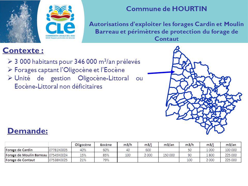 Situation des ouvrages : Forage des Genêts Forage de Cardin Forage de Moulin Barreau Commune de HOURTIN Autorisations d exploiter les forages Cardin et Moulin Barreau et périmètres de protection du forage de Contaut