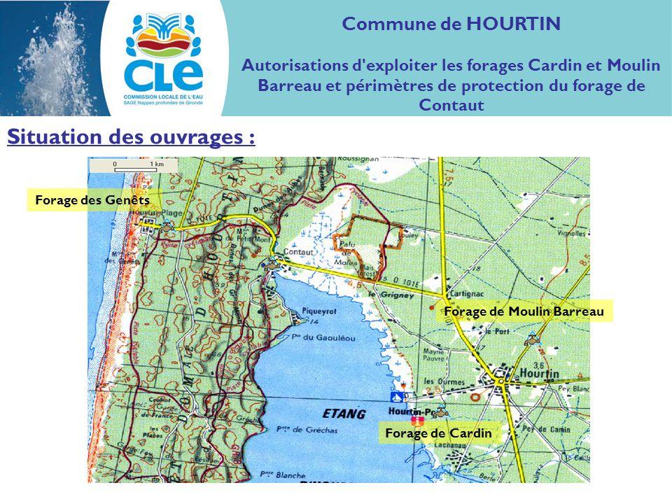 Commune de HOURTIN Autorisations des forages Cardin, Moulin Barreau et périmètres de protection du forage de Contaut Bilan : Eponte présente Pas d éponte