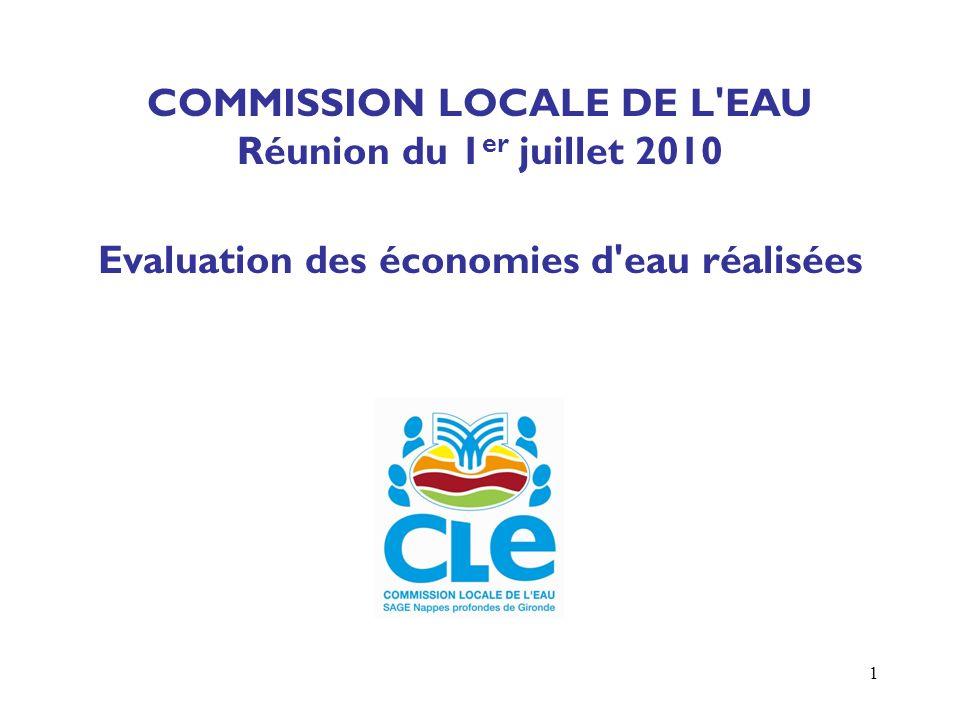 1 COMMISSION LOCALE DE L EAU Réunion du 1 er juillet 2010 Evaluation des économies d eau réalisées