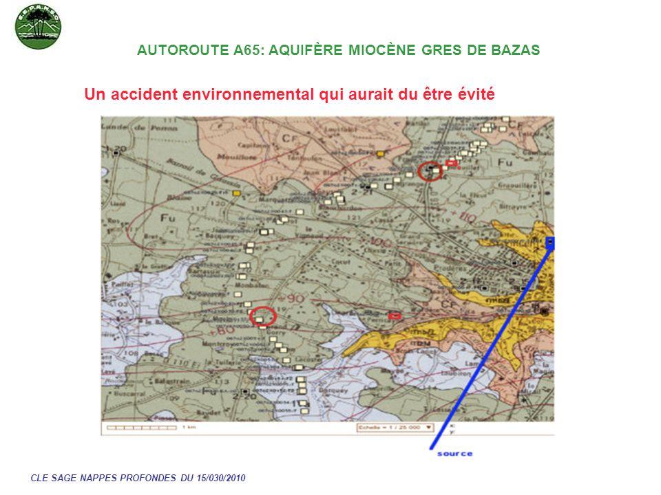 Un accident environnemental qui aurait du être évité CLE SAGE NAPPES PROFONDES DU 15/030/2010 AUTOROUTE A65: AQUIFÈRE MIOCÈNE GRES DE BAZAS