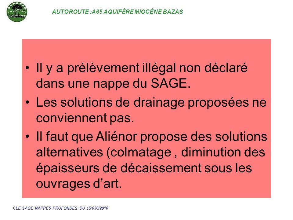 AUTOROUTE :A65 AQUIFÈRE MIOCÈNE BAZAS CLE SAGE NAPPES PROFONDES DU 15/030/2010 Il y a prélèvement illégal non déclaré dans une nappe du SAGE. Les solu