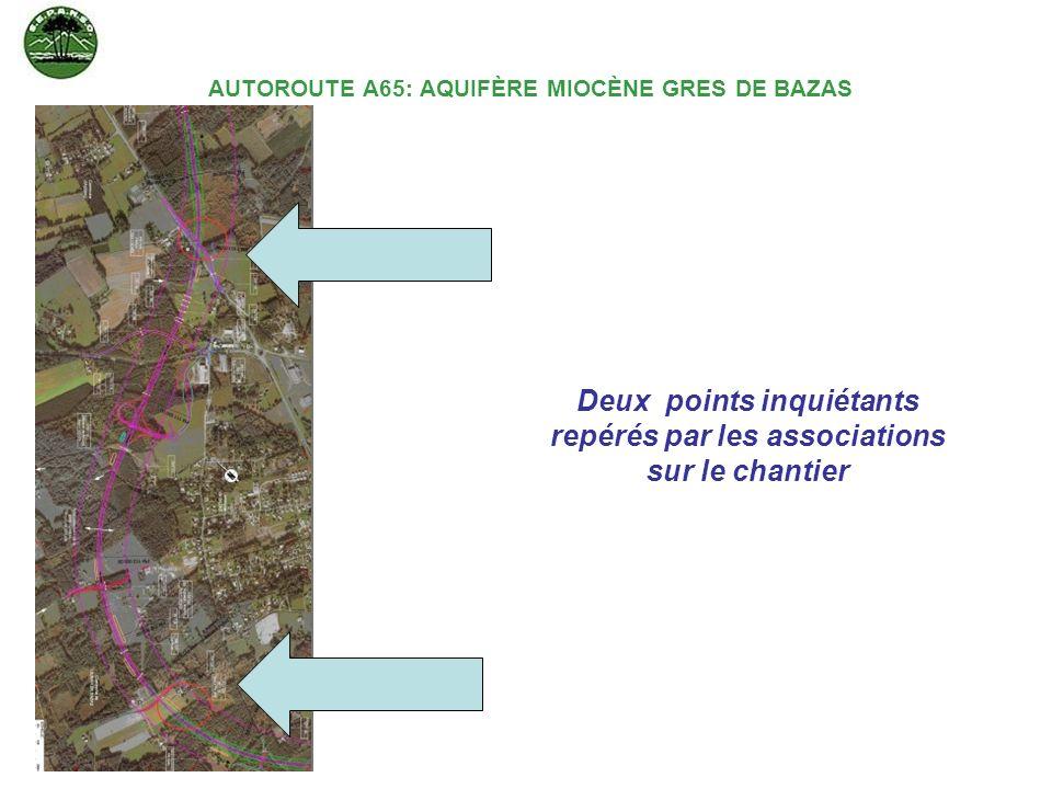 AUTOROUTE A65: AQUIFÈRE MIOCÈNE GRES DE BAZAS Deux points inquiétants repérés par les associations sur le chantier