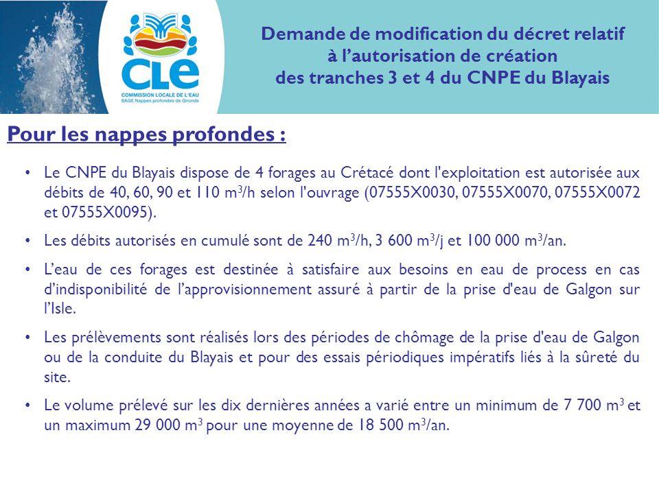 Pour les nappes profondes : Le CNPE du Blayais dispose de 4 forages au Crétacé dont l exploitation est autorisée aux débits de 40, 60, 90 et 110 m 3 /h selon l ouvrage (07555X0030, 07555X0070, 07555X0072 et 07555X0095).