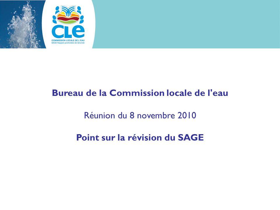 Point sur la révision du SAGE Délais Pour information : Délai imparti pour la révision des SAGE modifié par la Loi Grenelle 2 : échéance reportée au 31 décembre 2012 (compter une année pour les procédures réglementaires dadoption)