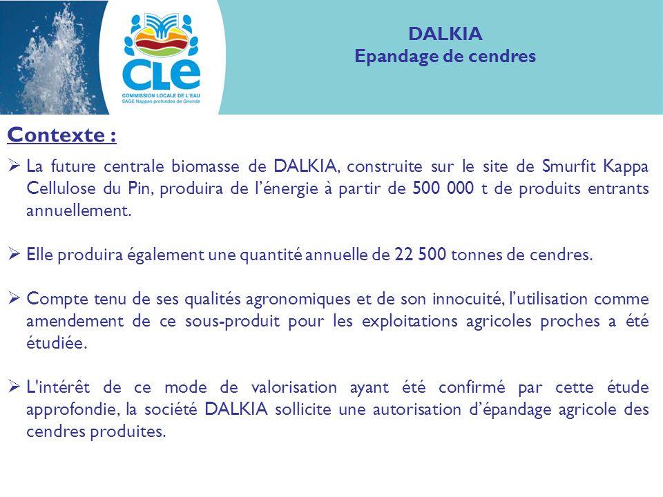 Contexte : L intérêt de 28 agriculteurs de Gironde et des Landes pour ce projet de recyclage des cendres a permis de définir, après étude de faisabilité, une surface apte à lépandage de 8 065 ha au final.