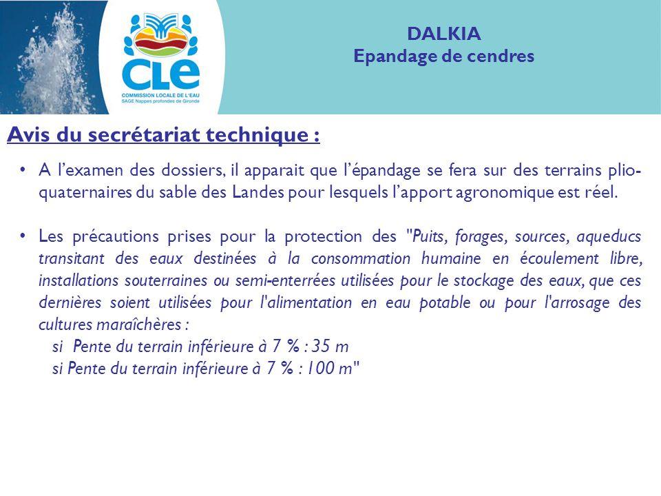Proposition davis : Compte tenu de la formation et laquifère éventuellement concernés par le plan dépandage, le projet ne concerne pas les nappes profondes de Gironde et sa compatibilité avec le SAGE des Nappes profondes ne se pose donc pas, DALKIA Epandage de cendres